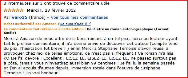 réaction de lectrice véronique sur Amazon